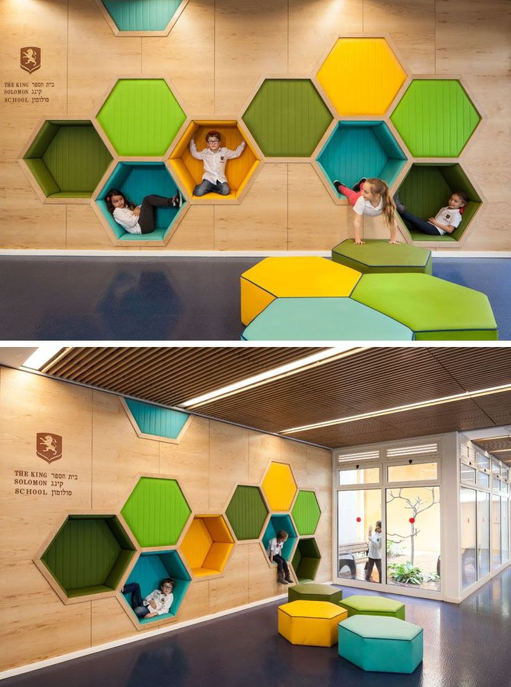 19 Ideas For Using Hexagons In Interior Design And Architecture // This elementary school has a play area featuring hexagon cubbies big enough to play in.