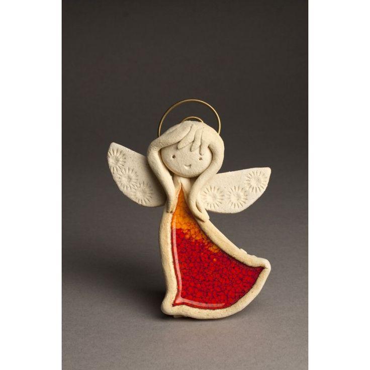 Aniołek pomarańczowo - czerwony stojący