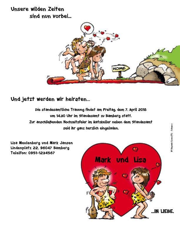 """Lustige Hochzeitskarten """"Steinzeit"""" bestellen"""
