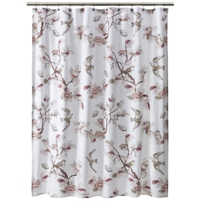 pink brown birds shower curtain rubber ducky bird shower curtain fabric shower curtains. Black Bedroom Furniture Sets. Home Design Ideas