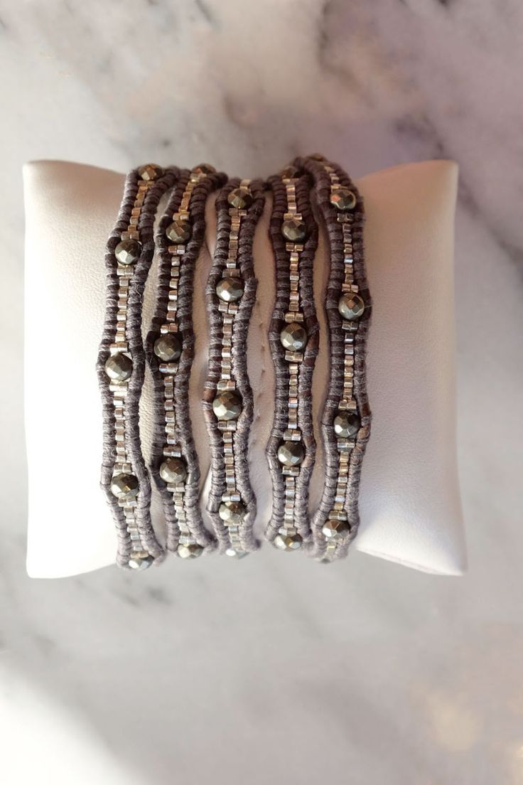 Chan Luu Silver Night Graduated Beaded Wrap Bracelet On Gunmetal Leather