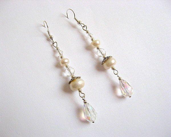 Cercei pentru mireasa din perle naturale si cristale - accesorii nunta femei