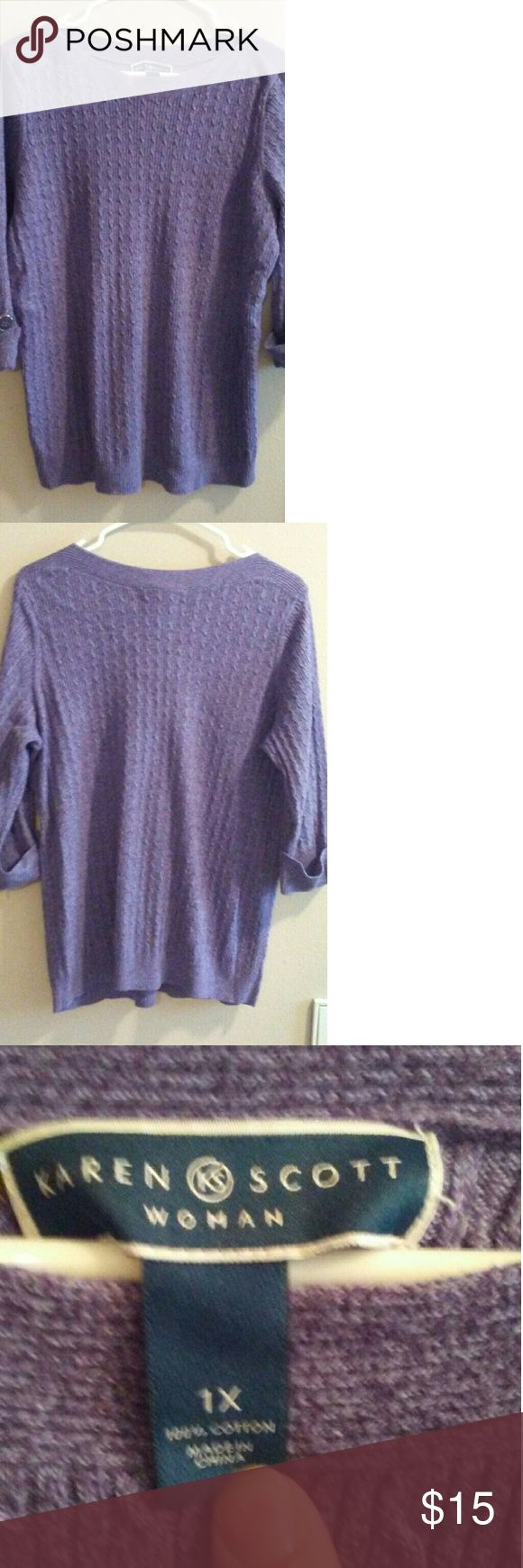 Purple sweater This is a very flattering purple Karen Scott sweater with cuffed sleeves decorated with buttons . It does have a small, barely noticeable stain on the front as shown in the fifth picture. Karen Scott Sweaters Crew & Scoop Necks