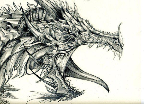 Dibujos De Dragones De Fuego A Lapiz
