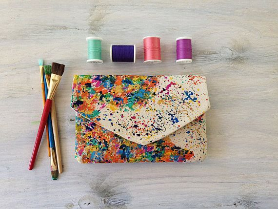 Map of the world hand painted envelope clutch with custom map options. Boho chic clutch for the world traveller.