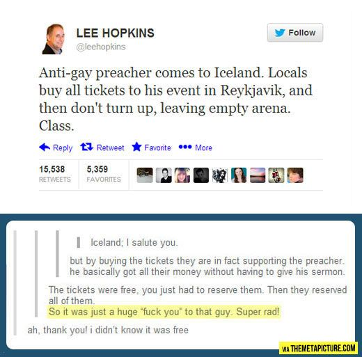 Iceland, you're doing it right…