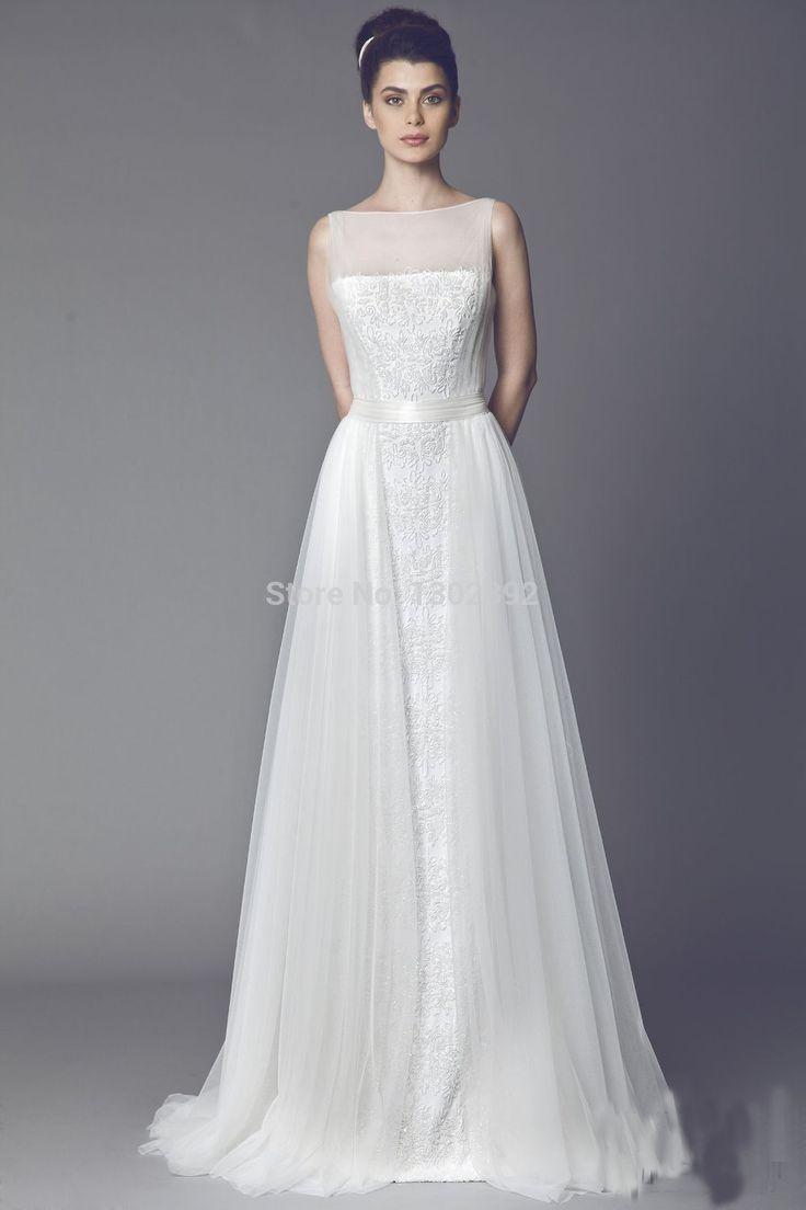 2015 Fahion кот Высокая Шея Аппликации Тюль Свадебные Платья A-Line Свадебные Платья Невесты Платья На Заказ