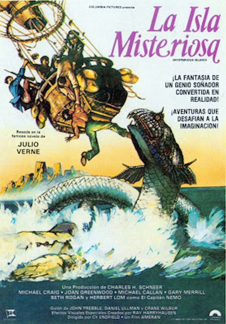 This Poster From Mysterious Island Introduces A Big Critter Not Seen In The Film Movie Posters Vintage Spanish Movies Fantastic Art