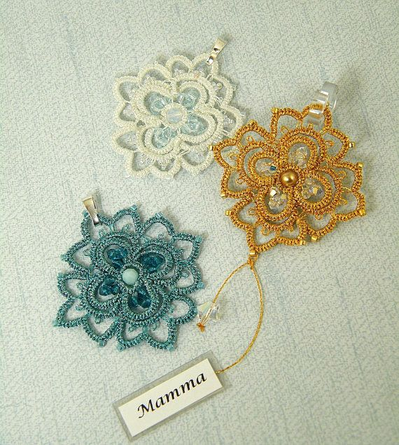 Segnaposto tatting pendant pattern by Happyland87 on Etsy