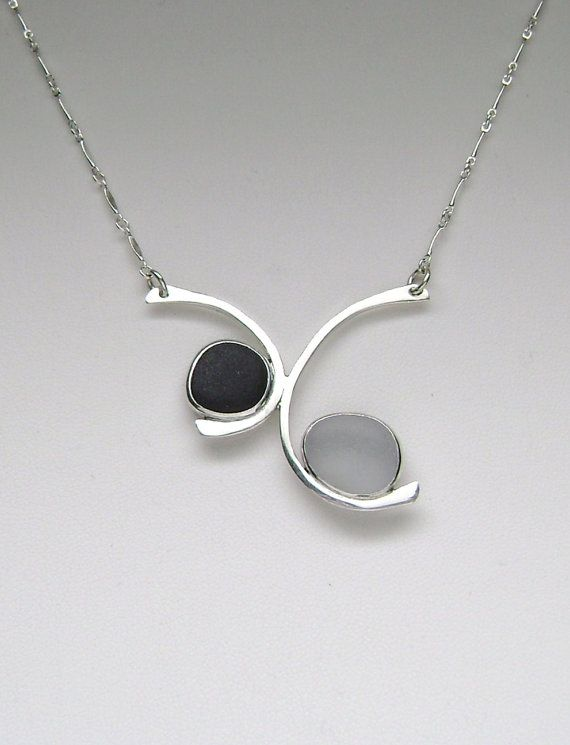 Sea Glass Jewelry  Sterling Black & Grey English by SignetureLine