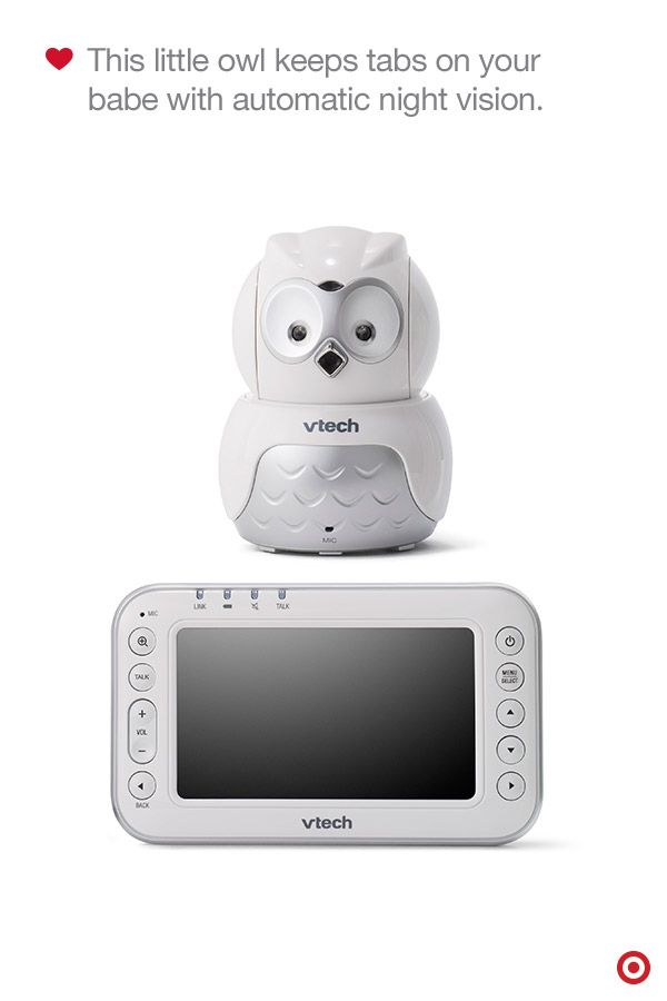 A Baby Registry essential, the Vtech Safe & Sound Baby Monitor keeps tabs of your little one with the sweet little owl perched nearby. It features remote pan, tilt and zoom to easily scan Baby's room from the parent unit, and has auto night vision for nighttime check-ins. Up to four additional cameras can be added to keep an eye on more than one child at the same time. Now that's convenience times four.