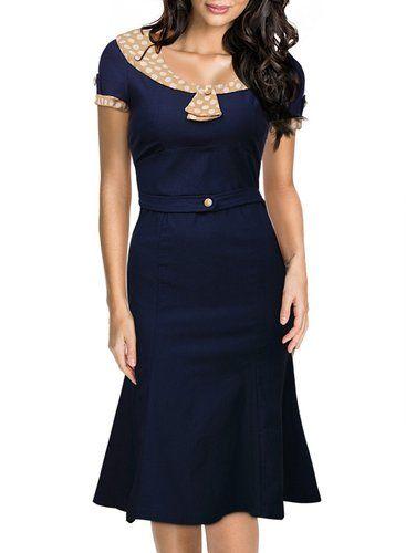 Miusol Women's Vintage Polka Dot Neck 1950'S Slim Cap Sleeve Evening Dress (Medium)