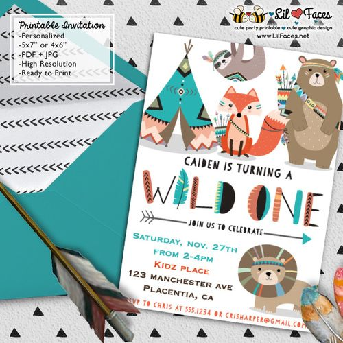 Wild one First Birthday Party invitations DIY Tribal Invitations Woodland printable Birthday invite adventure boho teepee Invitations