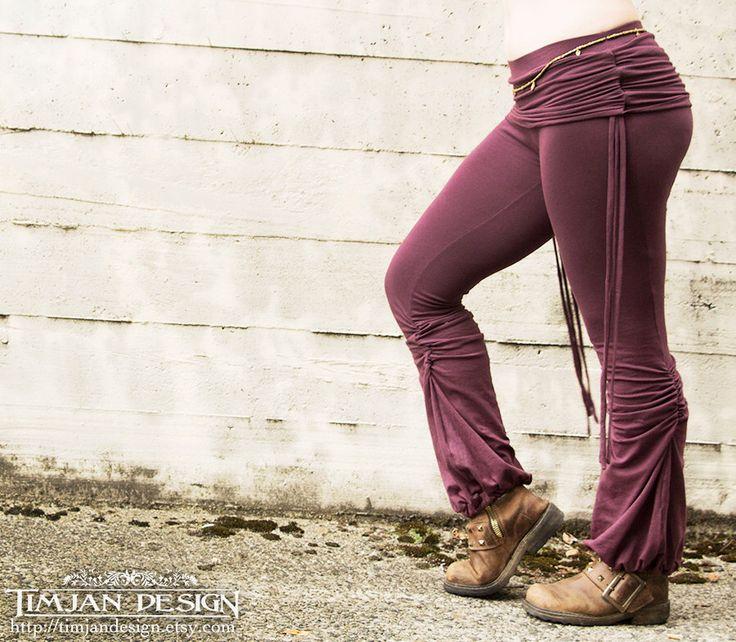 ADINATA YOGA PANTS - Organic Athletic Hippie Boho Sports Trousers Fairy Pixie Faery - Plum Purple by TimjanDesign on Etsy https://www.etsy.com/listing/165254309/adinata-yoga-pants-organic-athletic
