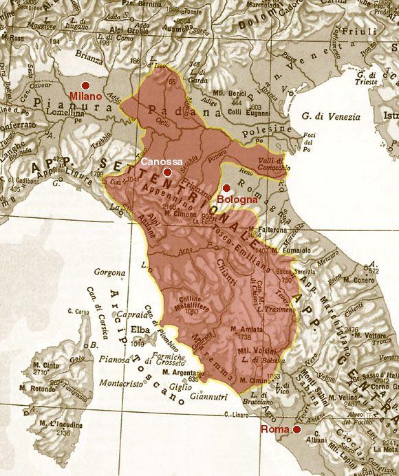 Mappa delle Terre di Matilde di Canossa #TuscanyAgriturismoGiratola