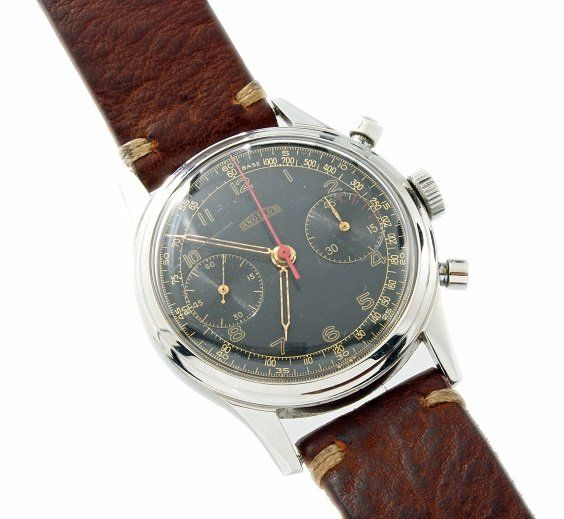 Rare vintage gents Angelus stainless steel mechanical movement, round button chronograph wristwatch  http://www.liveauctioneers.com/item/25627352_vintage-mens-steel-angelus-military-chronograph-watch