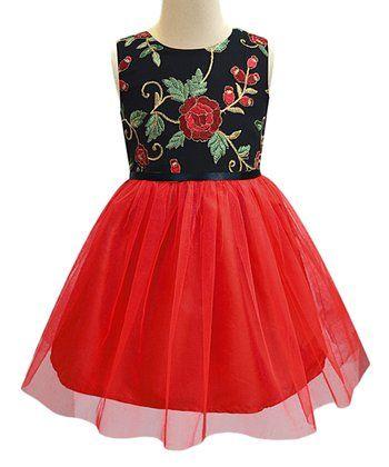 Black & Red Floral-Contrast A-Line Dress - Infant, Toddler & Girls