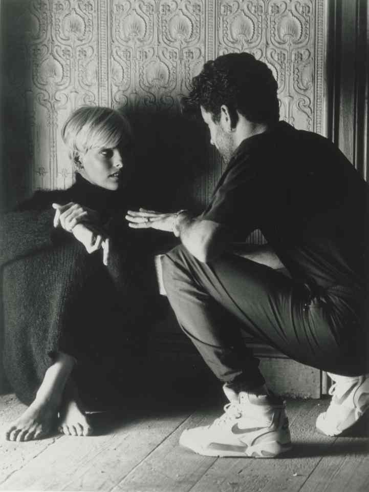 George Michael and Linda Evangelista speak on the set of the Freedom 90 video