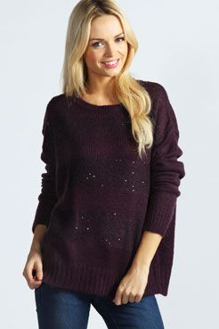 Rowie Reverse Knit Sequin Stripe Jumper at boohoo.com