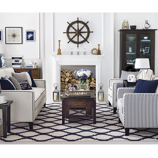 The Hamptons Chic Look: Team classic cream and dark-wood pieces with navy and chrome accessories for a smart Long Island look. Combine sea-inspired finds and tailored seating for a more elegant take on the nautical trend