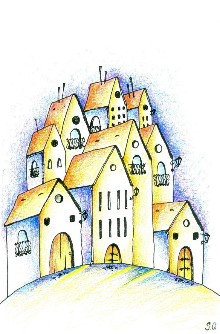 Illustration, paper, colored pencils, marker