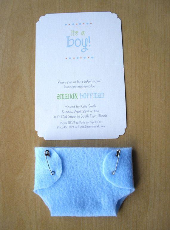 Muchacho bebé ducha invitaciones azul pañal por HelloAgainStudio