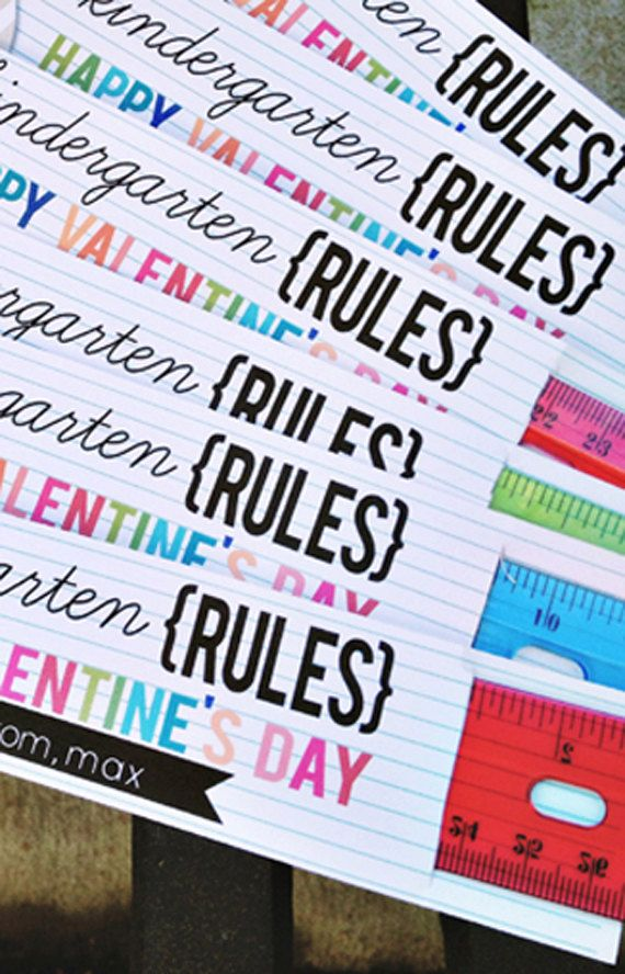 Kindergarten through 4th Grade Rules: Valentine's Day Ruler Card by leslienashdesigns on Etsy