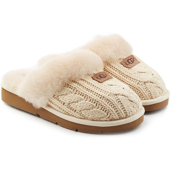 UGG Australia Cozy Knit Slippers ($105) ❤ liked on Polyvore featuring shoes, slippers and beige