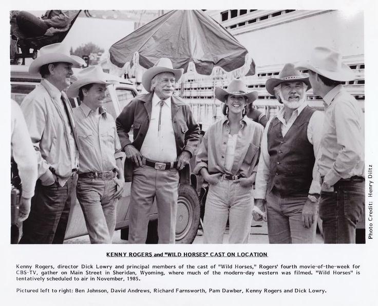 WILD HORSES (CBS-TV Movie) - From l. to r. - Ben Johnson - David Andrews - Richard Farnsworth - Pam Dawber - Kenny Rogers - director Dick Lowery - shot in Sheridan, Wyoming - Publicity Still.