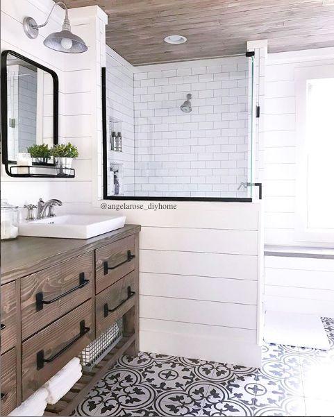 Rustic Modern Farmhouse Vanity Farmhouse Bathroom Cement