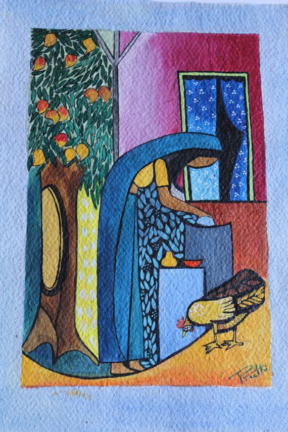 Indian Rural Village portrait acrylic painting, Indian pretty art, FREE Shipping, 8 x 12 inches, prettyartful.etsy.com