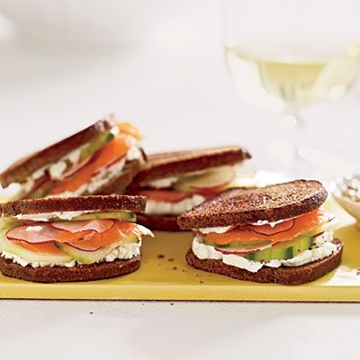 Smoked Salmon and Goat Cheese on Pumpernickel-Rye | CoastalLiving.com