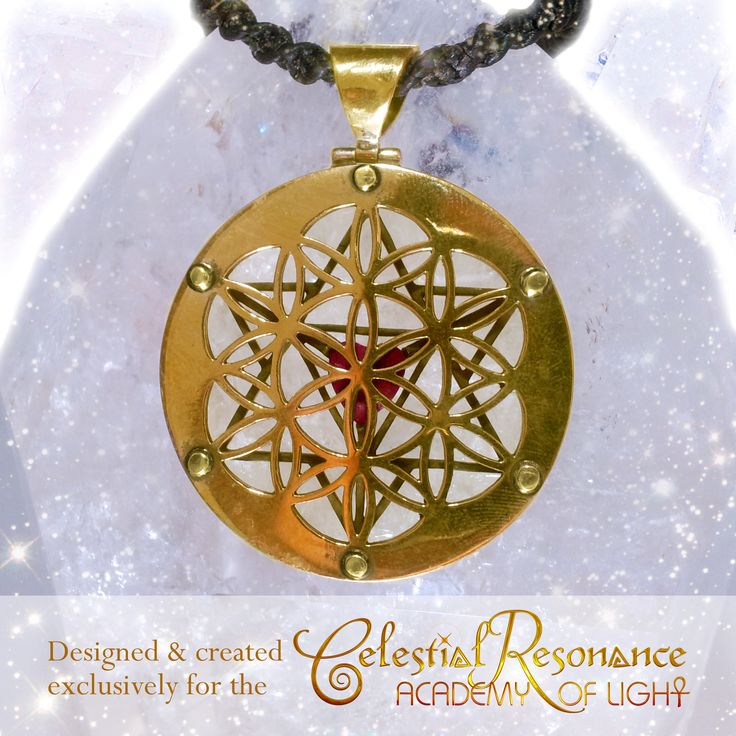 Back View - Celestial Resonance Pendant (22ct Gold Platted Silver & Rhodolite Garnet).  A popular power piece in the CELESTIAL TEMPLE JEWELRY COLLECTION! Features a 3d merkabah, with garnet heart & seed of life. Supports you to fully receive celestial frequencies, to move in celestial flow, with the divine timing of your life, to support your spiritual growth & well being. Learn More & purchase: http://www.kyrona.com/?p=12102 #spiritualjewelry, #crystaljewelry, #goldjewelry, #merkabah,