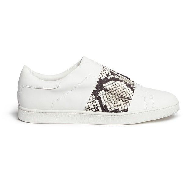 Vince 'Vista' python effect leather band laceless sneakers (2.040 DKK) ❤ liked on Polyvore featuring shoes, sneakers, white, slip on shoes, snakeskin shoes, leather slip on sneakers, leather shoes and snake skin slip on sneakers
