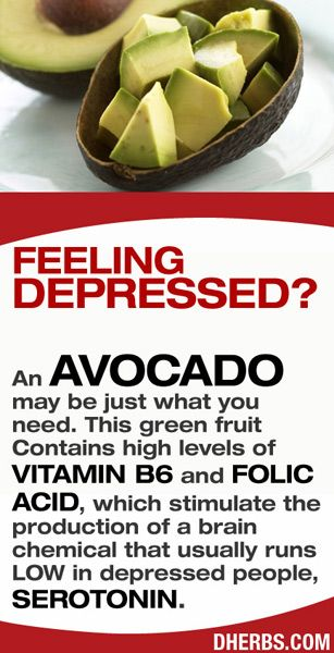 Feeling Depressed? An AVOCADO may be just what you need. This green fruit contains high levels of Vitamin B6 and Folic Acid, which stimulate the production of a brain chemical that usually runs low in depressed people, Serotonin. #dherbs #healthtips