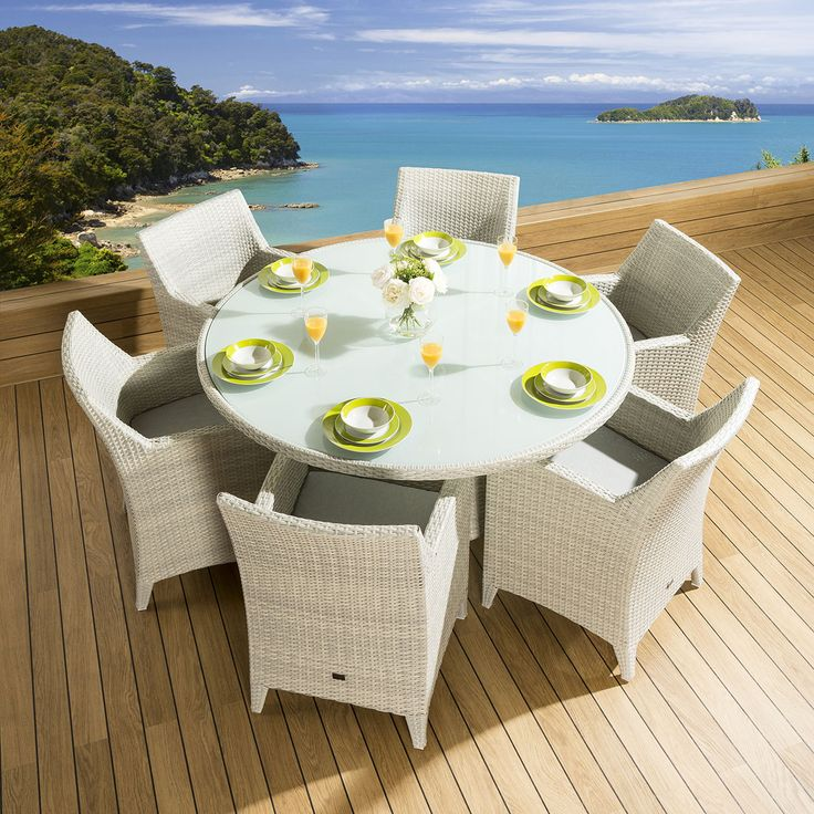 rattan garden 6 person dining set round table carver