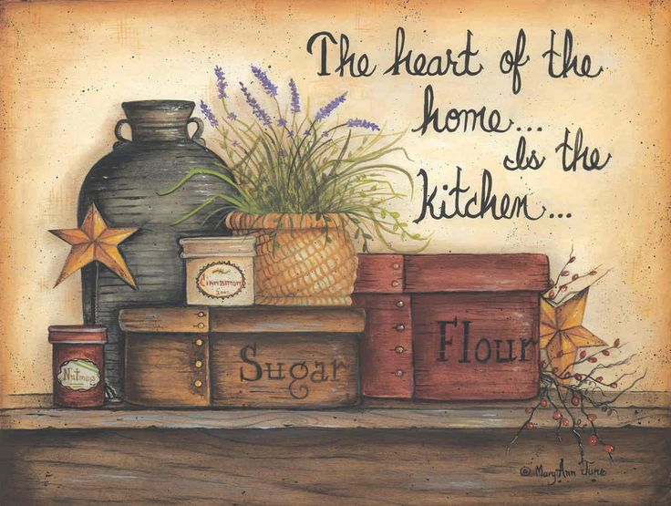 mary ann june pictures | Heart of the Home is the Kitchen by Mary Ann June 16x12 in.