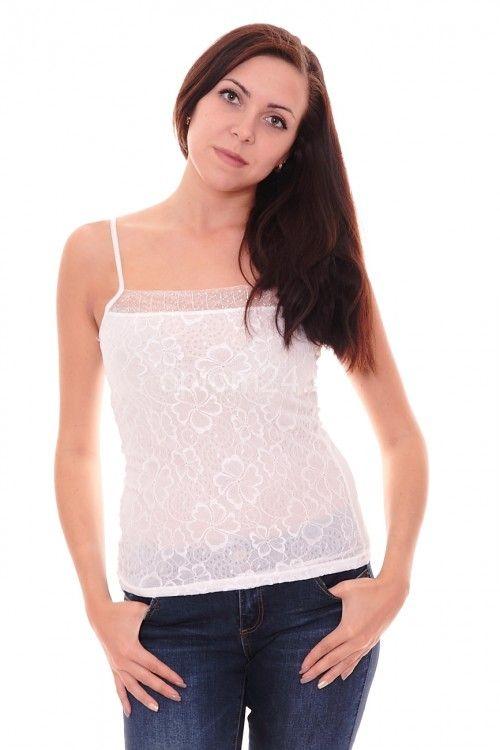 Майка женская белая А7847 Размеры: S, M, L Цена: 150 руб.  http://optom24.ru/mayka-zhenskaya-belaya-a7847/  #одежда #женщинам #майки #оптом24