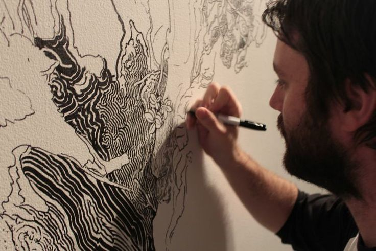 A Sprawling Wall Sized Mural Drawn With Only a Black Sharpie by Sean Sullivan