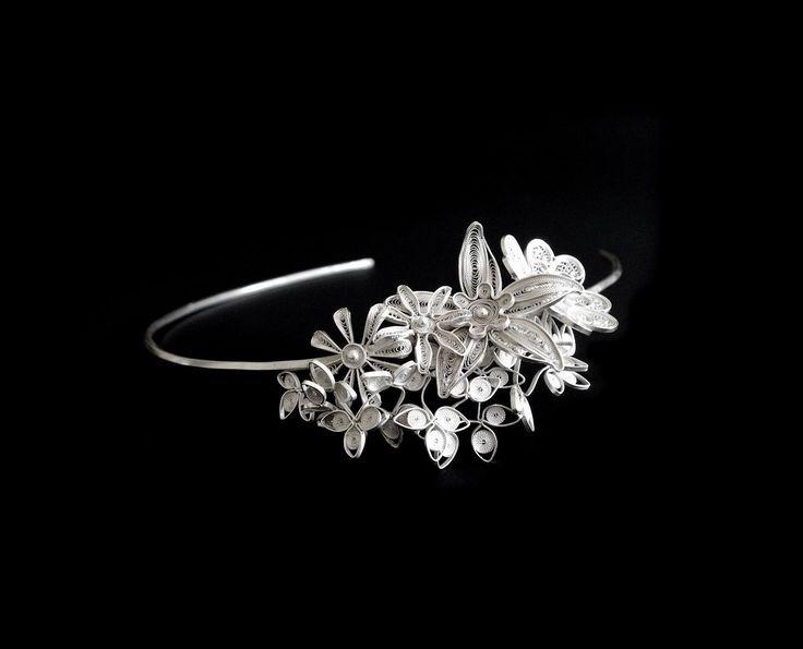 Filigree bridal tiara   Material: sterling silver