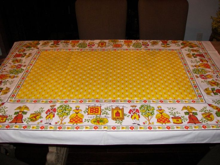 Vintage Cotton Oblong Tablecloth Colonial Dutch Tulips Independence Hall 1776