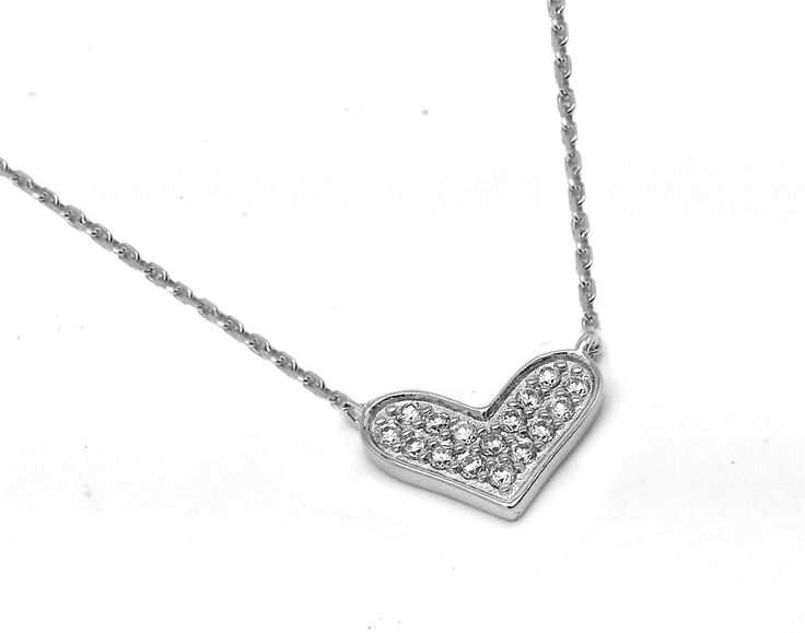 Sterling Silver Rhodium Plated Clear CZ Wide Heart Pendant Necklace: