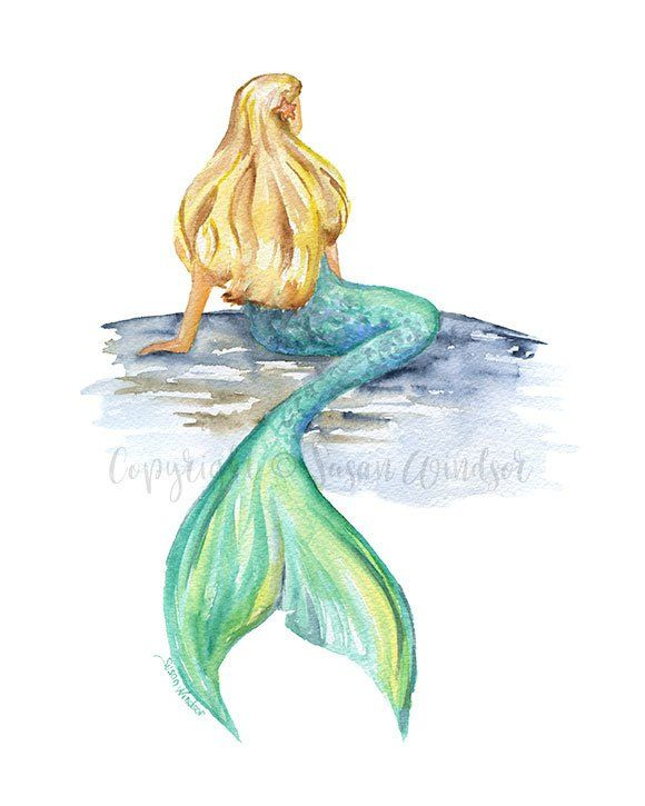Mermaid Watercolor Painting 5x7 Giclee Print Reproduction