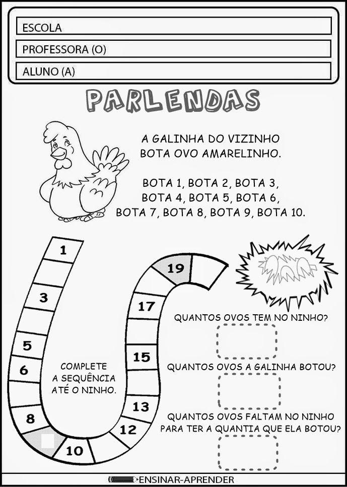 """ATIVIDADES COM PARLENDAS ~ """" Cantinho do Educador Infantil """":"""