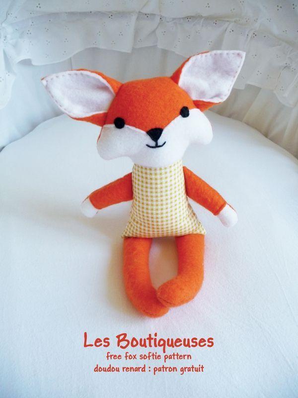 Fox softie free pattern by Les Boutiqueuses (doudou renard patron gratuit):