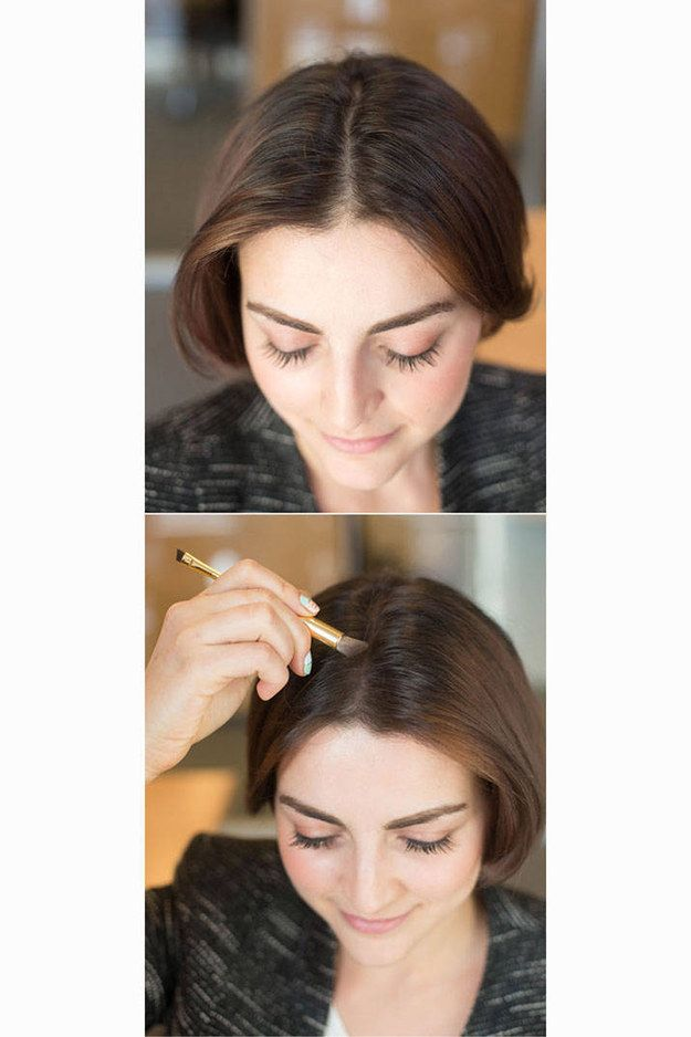 To make your hair look instantly thicker, brush a little eyeshadow on your part. | 44 Lazy Girl Beauty Hacks To Try Right Now
