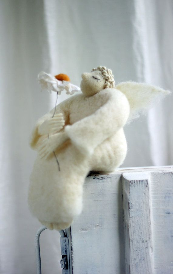 Dreamy Angel with A Daisy Needle Felted by FeltArtByMariana