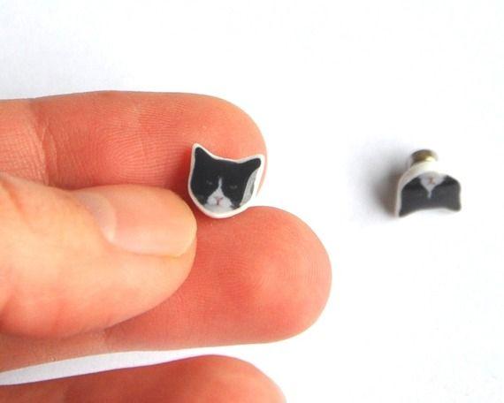Clips d'oreilles magnétiques Chat noir et blanc vintage, faux plugs aimant en Fimo