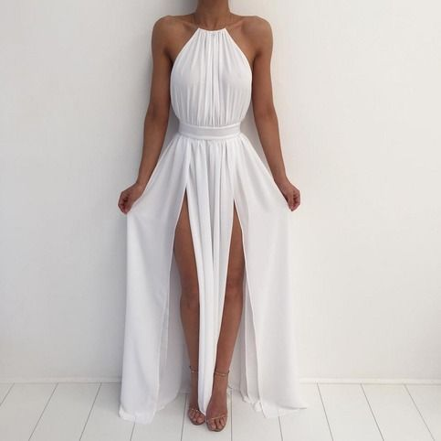 White long prom dresses, A-line round neck prom dresses,2016 evening formal gowns ,graduation dress