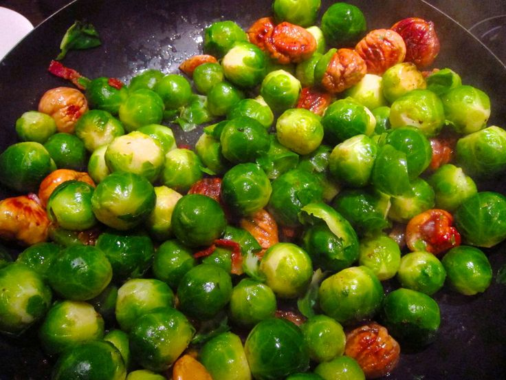 Brussels Sprouts with Bacon and Chestnuts.  Nomr